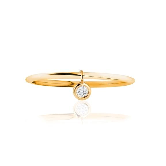 """Ring """"Prosecco"""" 750GG, 1 Diamant Brillant-Schliff 0.10ct TW/vs1, beweglicher Anhänger"""