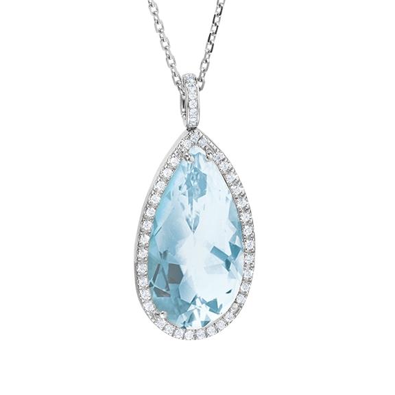 "Anhänger ""Espressivo"" Highlight 750WG, Topas sky blue Tropfen 22.0x12.0x10.0 mm facettiert ca. 20.0ct, 70 Diamanten Brillant-Schliff 0.37ct TW/vs1, Clipschlaufe 8 Diamanten Brillant-Schliff 0.03ct TW/vs1"