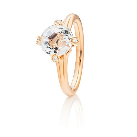 """Ring """"Capriccio"""" 750RG, Bergkristall Ø 8.0 mm ca. 2.10ct, 14 Diamanten Brillant-Schliff 0.07ct TW/vs"""