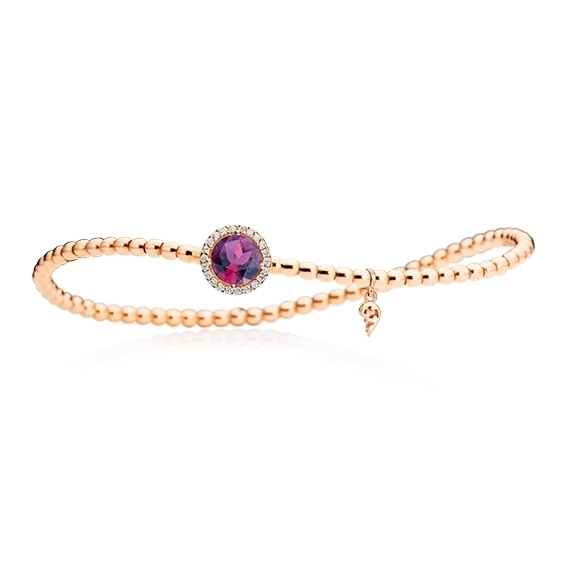 "Armband ""Espressivo"" 750RG, Granat Royal Purple facettiert Ø 6.0 mm, 22 Diamanten Brillant-Schliff 0.06ct TW/si, Innenumfang 17.0 cm"