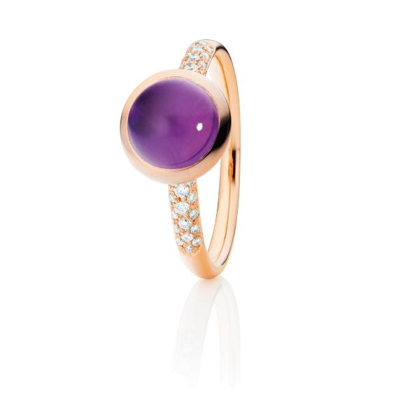 "Ring ""Velluto"" 750RG, Amethyst medium Cabochon Ø 8.0 mm ca. 2.1ct, 30 Diamanten Brillant-Schliff 0.12ct TW/vs"