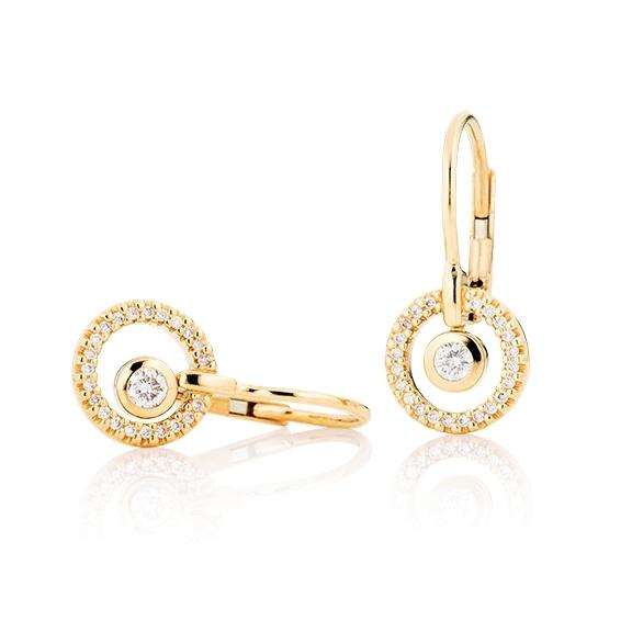 "Ohrhänger ""Glam Motion"" 750GG, 2 Diamanten Brillant-Schliff 0.15ct TW/si, 44 Diamanten Brillant-Schliff 0.14ct TW/si"