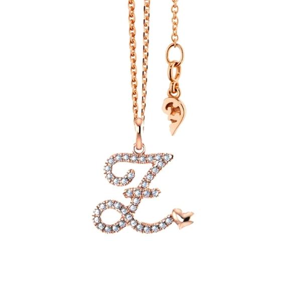 """Anhänger """"Poesia"""" 750RG, Buchstabe """"Z"""", 40 Diamanten Brillant-Schliff 0.15ct TW/vs"""