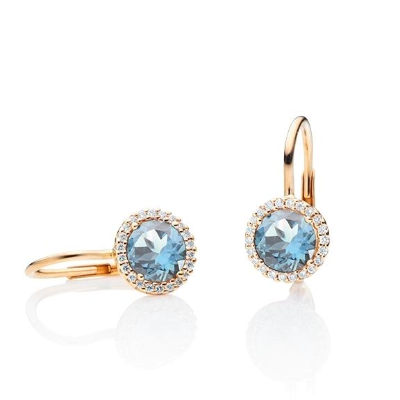 "Ohrhänger ""Espressivo"" 750RG, Topas sky blue facettiert Ø 6.0 mm ca. 2.00ct, 44 Diamanten Brillant-Schliff 0.12ct TW/si"