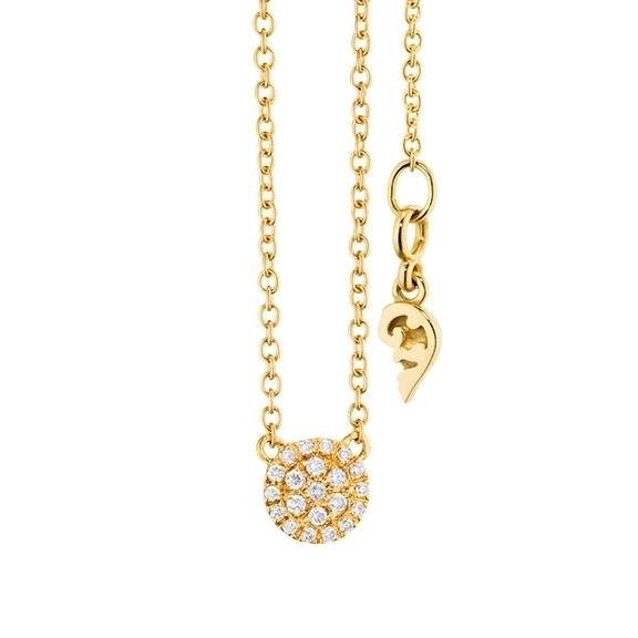 """Collier """"Dolcini"""" 750GG, 21 Diamanten Brillant-Schliff 0.10ct TW/vs, Länge 45.0 cm, Zwischenöse bei 42.0 cm"""