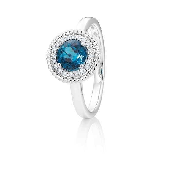 "Ring ""Amore mio"" 750WG, Topas London blue facettiert  Ø 6.0 mm ca. 1.00ct, 20 Diamanten Brillant-Schliff 0.08ct TW/si"