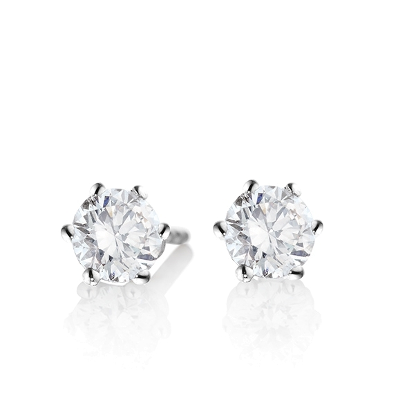 "Ohrstecker ""Diamante in Amore"" 750WG 6-er Krappe, 2 Diamanten Brillant-Schliff á 0.60ct TW/vs1 GIA Zertifikat"