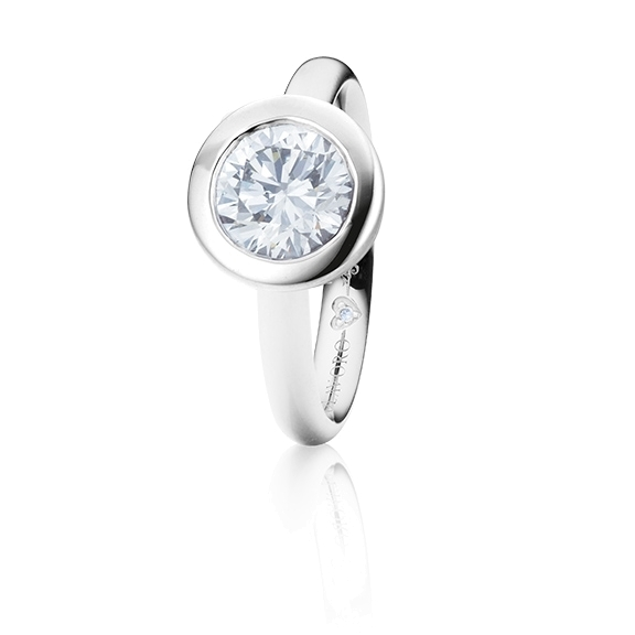 "Ring ""Diamante in Amore"" 750WG Zargenfassung, 1 Diamant Brillant-Schliff 1.00ct TW/vs1 GIA Zertifikat, 1 Diamant Brillant-Schliff 0.005ct TW/vs1"