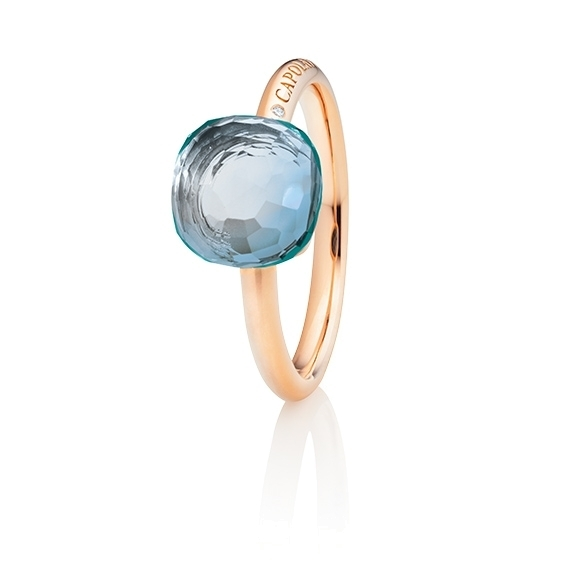 "Ring ""Happy Holi"" 750RG, Topas sky blue Cabochon  9.0 x 9.0 mm facettiert ca. 5.30ct, 1 Diamant Brillant-Schliff 0.004ct TW/vs1"