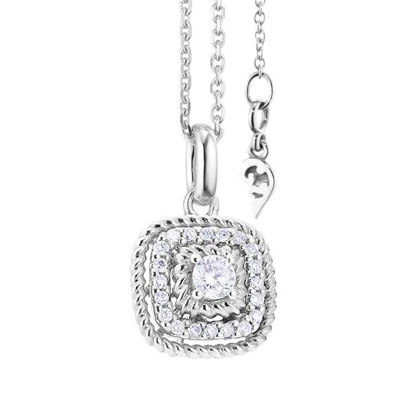 """Anhänger """"Amore mio"""" 750WG, 21 Diamanten Brillant-Schliff 0.18ct TW/si"""
