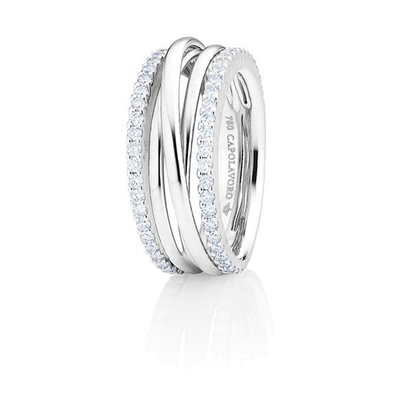 """Ring """"Magnifico"""" 750WG, 58 Diamanten Brillant-Schliff 0.82ct TW/si"""