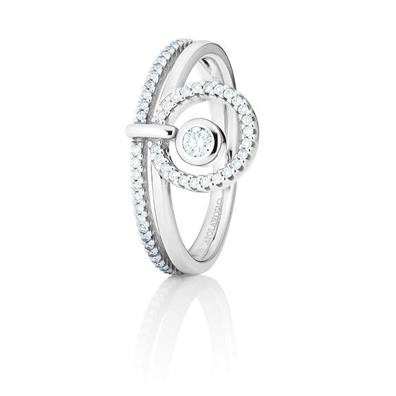 "Ring ""Glam Motion"" 750WG, 1 Diamant Brillant-schliff 0.15ct TW/si, 48 Diamanten Brillant-Schliff 0.29ct TW/si"