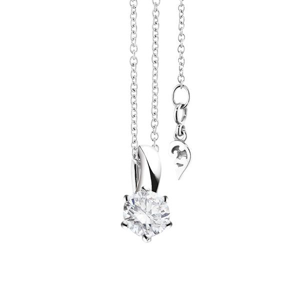 """Collier """"Diamante in Amore"""" 750WG 6-er Krappe, Schlaufe, 1 Diamant Brillant-Schliff 0.50ct TW/vs1 GIA Zertifikat, Länge 45.0 cm, Zwischenöse bei 42.0 cm"""