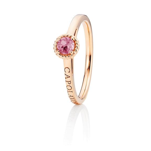 """Ring """"Amore Mio"""" 750RG, 1 Saphir pink facettiert Ø 4.0 mm ca. 0.18ct, 1 Diamant Brillant-Schliff 0.005ct TW/vs1"""