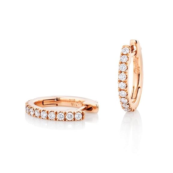 "Ohrcreolen ""Diamante in Amore"" 750RG, 22 Diamanten Brillant-Schliff 0.26ct TW/vs1"