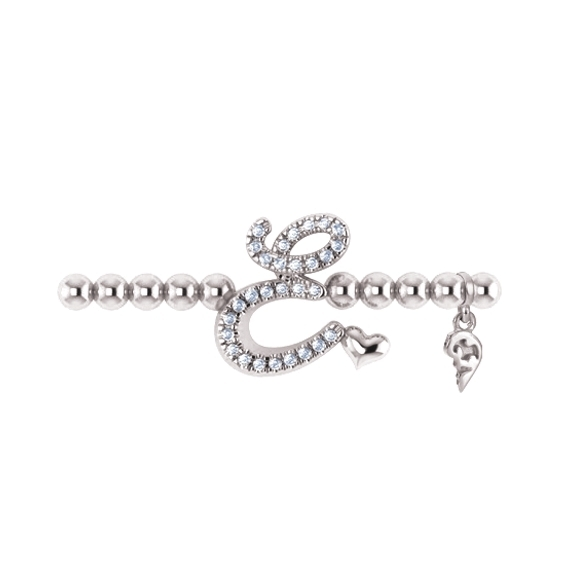 "Armband ""Poesia"" 750WG, Buchstabe ""E"", 29 Diamanten Brillant-Schliff ca. 0.11ct TW/vs1, Innenumfang 17.0 cm"