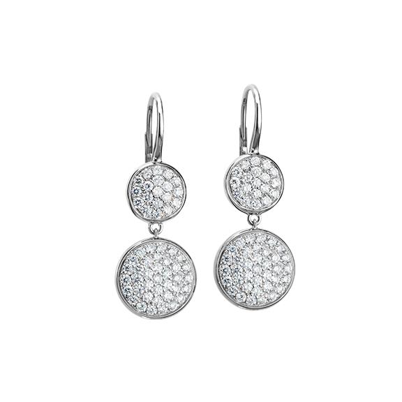 "Ohrhänger ""Dolcini"" 750WG, 38 Diamanten Brillant-Schliff 0.60ct TW/vs, 38 Diamanten Brillant-Schliff 0.20ct TW/vs"