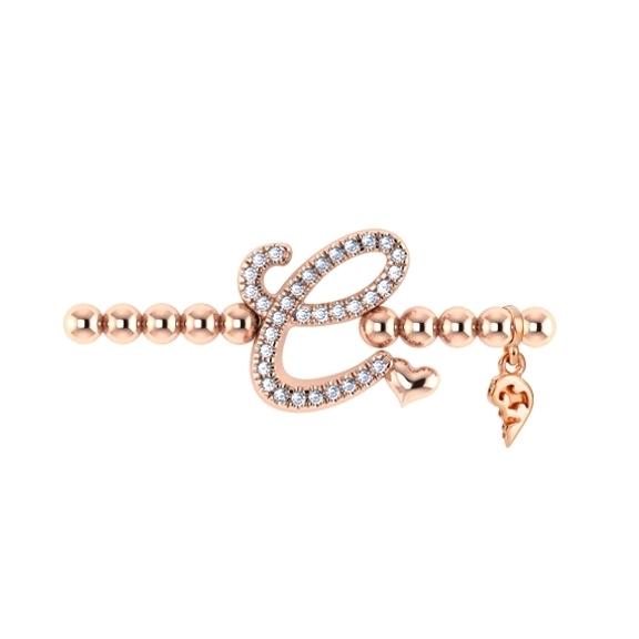 "Armband ""Poesia"" 750RG,Buchstabe ""C"", 33 Diamanten Brillant-Schliff 0.13ct TW/vs1, Innenumfang 17.0 cm"