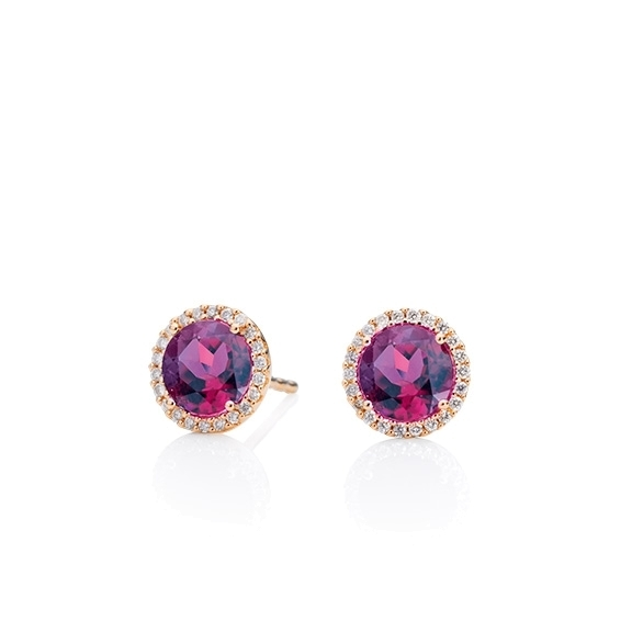 "Ohrstecker ""Espressivo"" 750RG, Granat Royal Purple facettiert Ø 6.0 mm ca. 1.60ct, 44 Diamanten Brillant-Schliff 0.12ct TW/si"