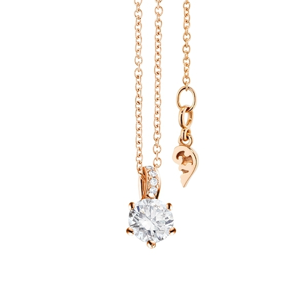 "Collier ""Diamante in Amore"" 750RG 6-er Krappe, Brillantschlaufe, 1 Diamant Brillant-Schliff 0.33ct TW/vs1, 5 Diamanten Brillant-Schliff 0.02ct TW/vs1, Länge 45.0 cm, Zwischenöse bei 42.0 cm"