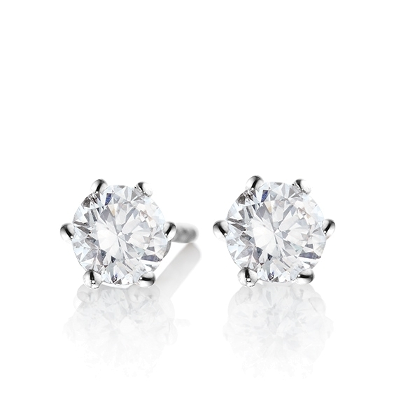 "Ohrstecker ""Diamante in Amore"" 750WG 6-er Krappe, 2 Diamanten Brillant-Schliff á 0.70ct TW/vs1 GIA Zertifikat"