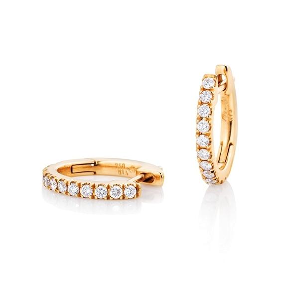 "Ohrcreolen ""Diamante in Amore"" 750GG, 22 Diamanten Brillant-Schliff 0.26ct TW/vs1"