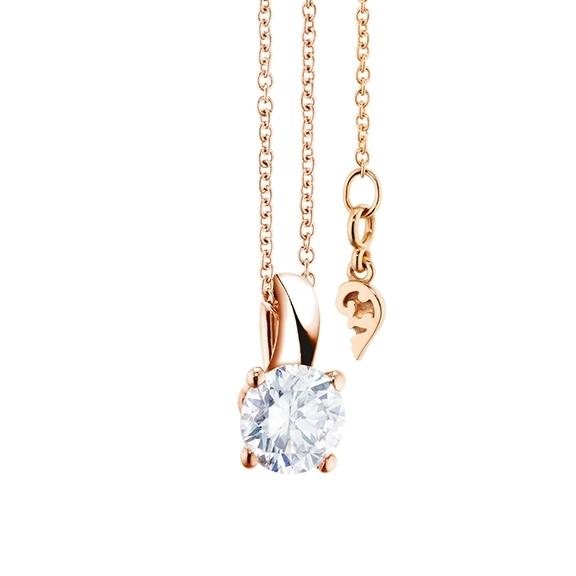 """Collier """"Diamante in Amore"""" 750RG 4-er Krappe, Schlaufe, 1 Diamant Brillant-Schliff 0.70ct TW/vs1 GIA Zertifikat, Länge 45.0 cm, Zwischenöse bei 42.0 cm"""