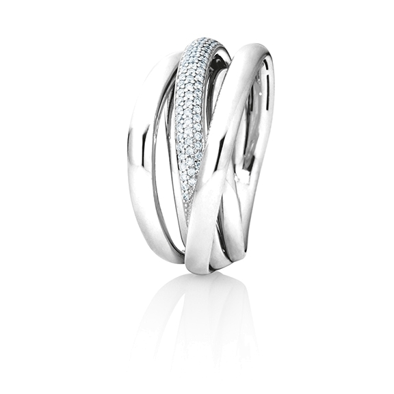 "Ring ""Cielo"" 750WG, 103 Diamanten Brillant-Schliff 0.41ct TW/si"