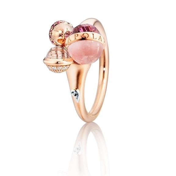"Ring ""Velluto"" 750RG, Amethyst medium facettiert, Rosenquarz Cabochon, Topas weiss facettiert, 19 Diamanten Brillant-Schliff 0.05ct TW/vs1, 13 Saphir pink 0.06ct"