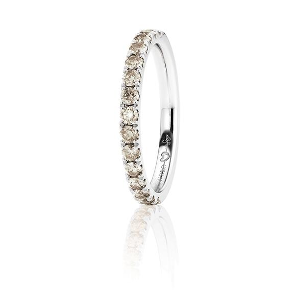 """Memoirering """"Diamante in Amore"""" 750WG, 15 Diamant Brillant-Schliff 0.62ct natural brown, 1 Diamant Brillant-Schliff 0.005ct TW/vs1"""