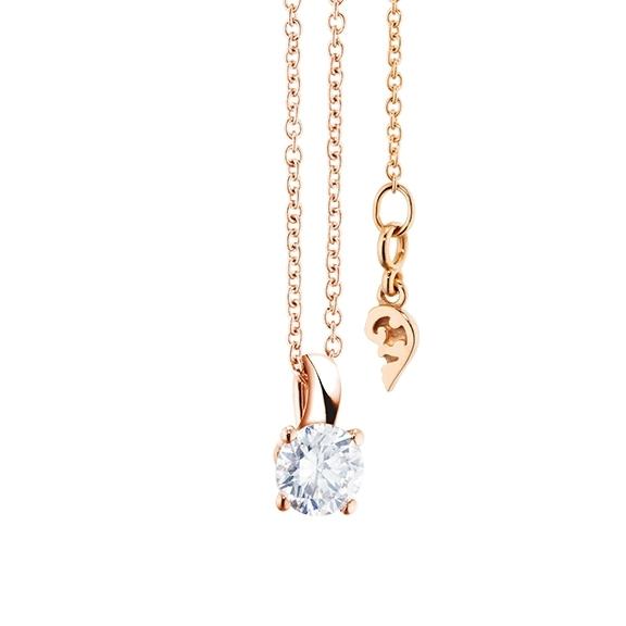 """Collier """"Diamante in Amore"""" 750RG 4-er Krappe, Schlaufe, 1 Diamant Brillant-Schliff 0.33ct TW/vs1, Länge 45.0 cm, Zwischenöse bei 42.0 cm"""