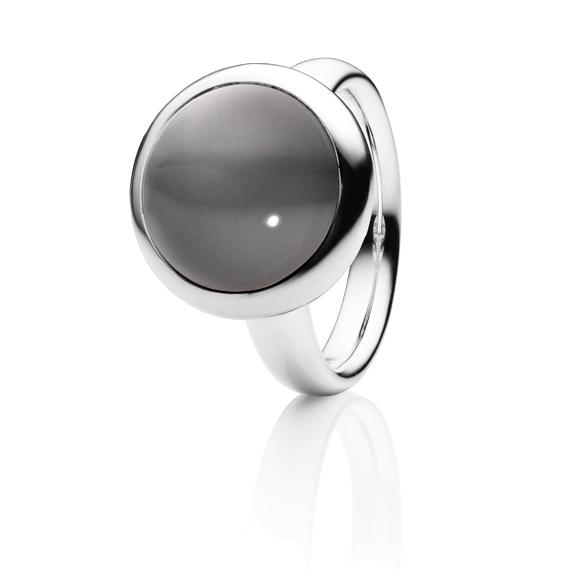"""Ring """"Velluto"""" 750WG, Mondstein grau dunkel Cabochon Ø 14.0 mm ca. 9.2ct"""