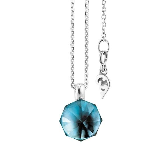 """Collier """"My Sunshine"""" 750WG, Topas London blue Cabochon ca. 3.70ct, 8.90 x 8.90 mm facettiert mit Ankerkette Länge 45cm, Zwischenöse bei 42cm"""