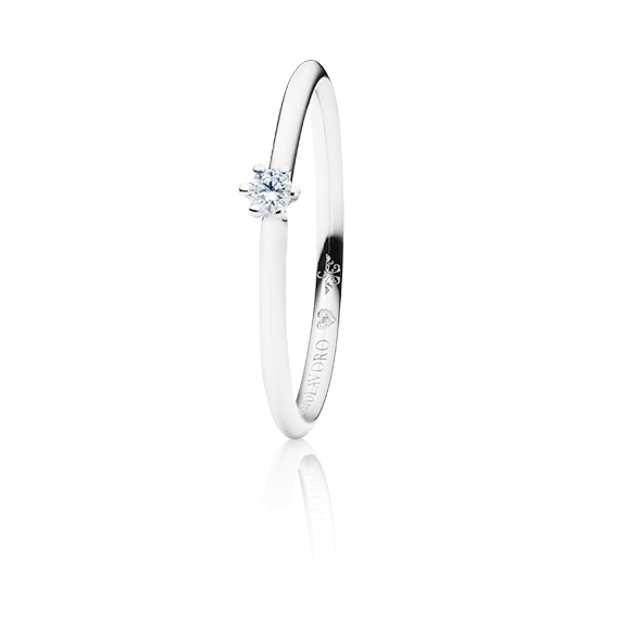 "Ring ""Diamante in Amore"" 750WG 6-er Krappe, 1 Diamant Brillant-Schliff 0.05ct TW/vs1, 1 Diamant Brillant-Schliff 0.005ct TW/vs1"