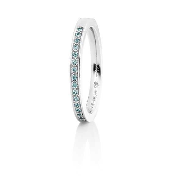 """Memoirering """"Diamante in Amore"""" 750WG Fadenfassung, 23 Diamanten Brillant-Schliff 0.15ct sky blue beh., 1 Diamant Brillant-Schliff 0.005ct TW/vs1"""
