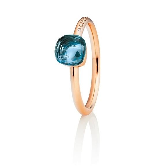 "Ring ""Happy Holi"" 750RG, Topas London blue Cabochon  6.0 x 6.0 mm facettiert ca. 1.60ct, 1 Diamant Brillant-Schliff 0.004ct TW/vs1"