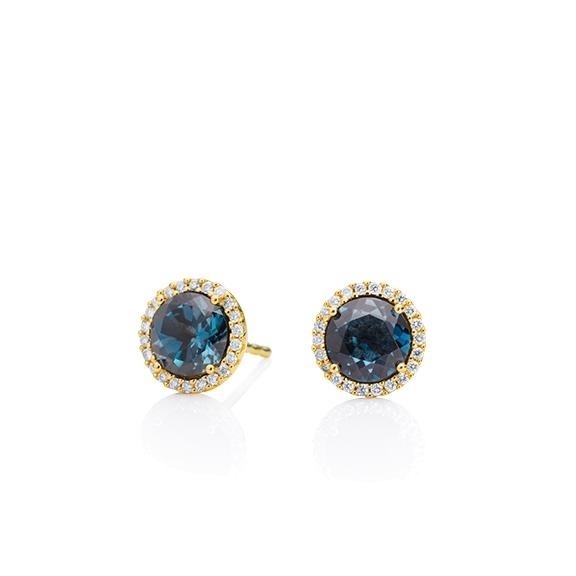 "Ohrstecker ""Espressivo"" 750GG, Topas London blue facettiert Ø 6.0 mm ca. 1.80ct, 44 Diamanten Brillant-Schliff 0.12ct TW/si1"