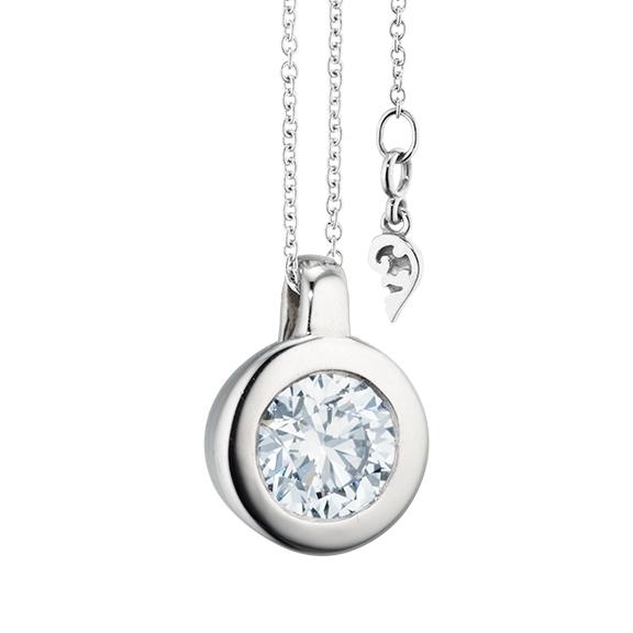 """Collier """"Diamante in Amore"""" 750WG Zargenfassung, Schlaufe, 1 Diamant Brillant-Schliff 1.00ct TW/vs1 GIA Zertifikat, Länge 45.0 cm, Zwischenöse bei 42.0 cm"""