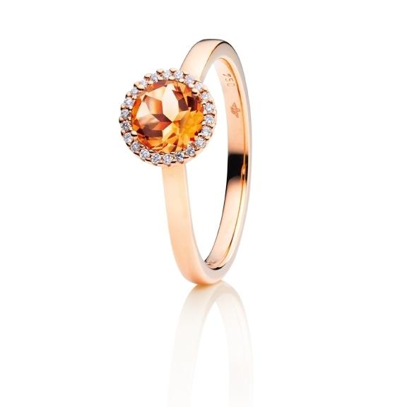 """Ring """"Espressivo"""" 750RG, Granat Mandarin facettiert Ø 6.0 mm ca. 0.80ct, 22 Diamanten Brillant-Schliff 0.06ct TW/si"""