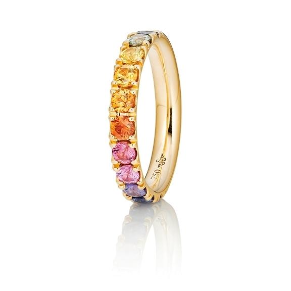 """Ring """"Rainbow"""" 750GG, 11 Saphire bunt ca. 1.50ct TW/vs1, 1 Diamant Brillant-Schliff 0.005ct TW/vs1"""
