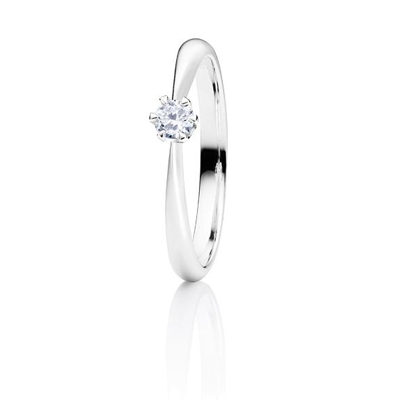 """Ring """"Classico"""" 750WG 6-er Krappe, 1 Diamant Brillant-Schliff 0.20ct TW/si"""