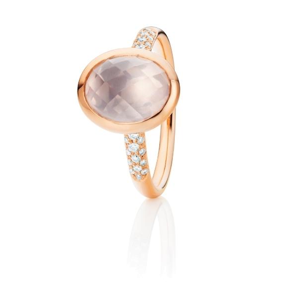 """Ring """"Velluto"""" 750RG, Rosenquarz klar facettiert 10.0 x 8.0 mm ca. 2.0ct, 30 Diamanten Brillant-Schliff 0.09ct TW/vs"""