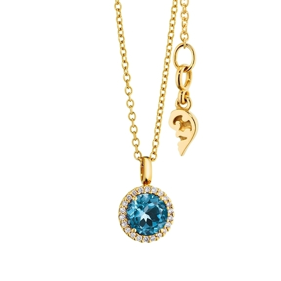 "Anhänger ""Espressivo"" 750GG, Topas London blue facettiert Ø 6.0 mm, 22 Diamanten Brillant-Schliff 0.06ct TW/si1"
