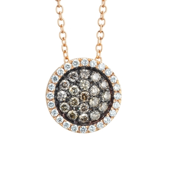 "Collier ""Dolcini"" 750RG, 24 Diamanten Brillant-Schliff 0.19ct TW/vs, 19 Diamanten Brillant-Schliff 0.32ct natural light brown, Länge 45.0 cm"