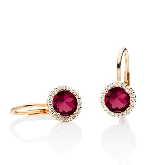 """Ohrhänger """"Espressivo"""" 750RG, Rubelith facettiert Ø 6.0 mm, 44 Diamanten Brillant-Schliff 0.12ct TW/si"""