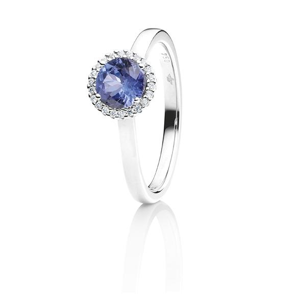 """Ring """"Espressivo"""" 750WG, Tansanit facettiert Ø 6.0 mm ca. 0.82ct, 22 Diamanten Brillant-Schliff 0.06ct TW/si1"""