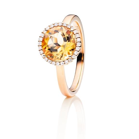 """Ring """"Espressivo"""" 750RG, Citrin medium facettiert Ø 9.0 mm, 28 Diamanten Brillant-Schliff 0.10ct TW/si"""