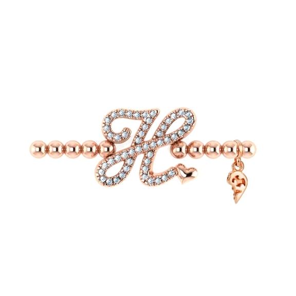"Armband ""Poesia"" 750RG, Buchstabe ""H"", 50 Diamanten Brillant-Schliff ca. 0.19ct TW/vs1, Innenumfang 17.0 cm"