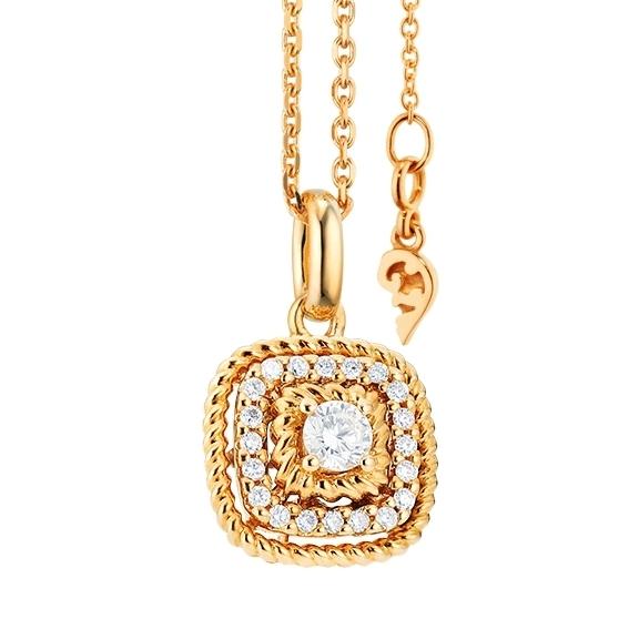 """Anhänger """"Amore mio"""" 750GG, 21 Diamanten Brillant-Schliff 0.18ct TW/si"""
