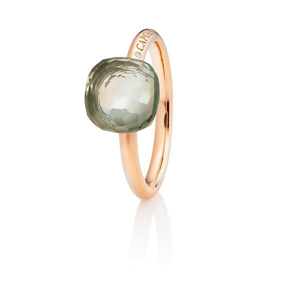 "Ring ""Happy Holi"" 750RG, Amethyst grün Cabochon  9.0 x 9.0 mm facettiert ca. 3.80ct, 1 Diamant Brillant-Schliff 0.004ct TW/vs1"